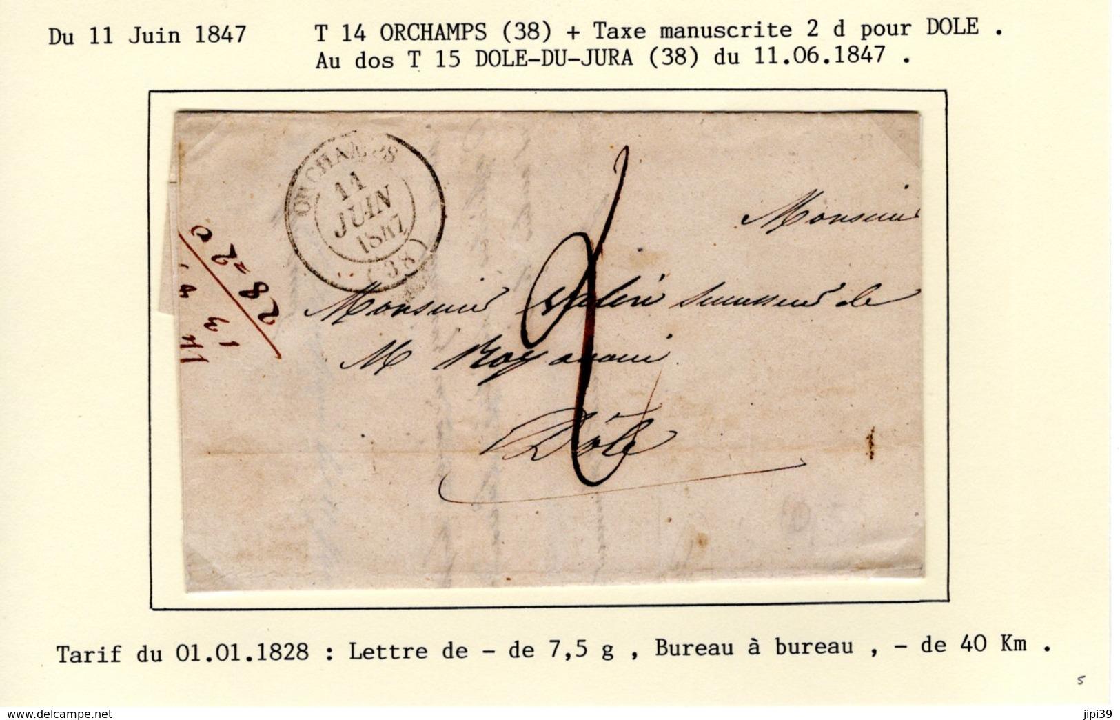 Jura : T 14 ORCHAMPS + Taxe Manuscrite 2 D  Sur LAC En 1847 - 1801-1848: Précurseurs XIX