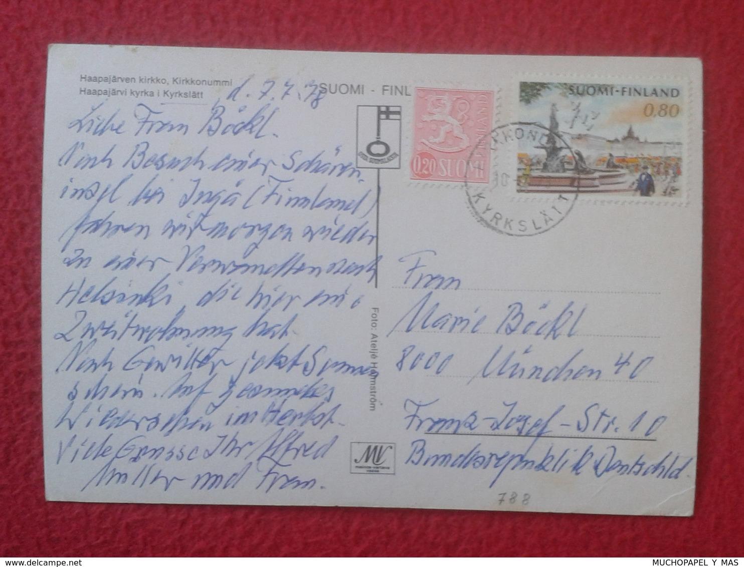 POSTAL POST CARD CARTE POSTALE FINLANDIA ? FINLAND ? SUOMI ? KIRKKONUMMI WITH STAMPS CON SELLOS CIRCULADA VER FOTOS Y DE - Finlandia