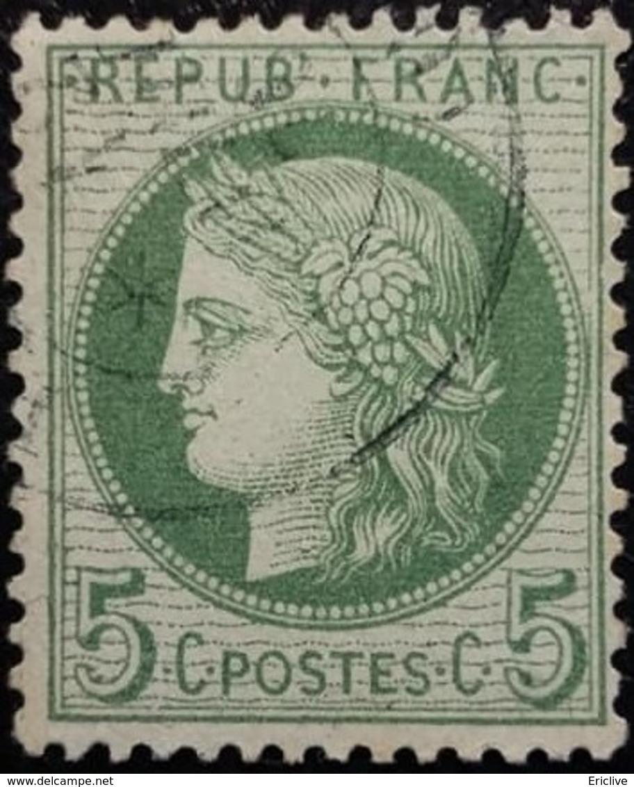 FRANCE Y&T N°53k Cérès 5c Vert-vif Sur Azuré. Oblitéré - 1871-1875 Ceres