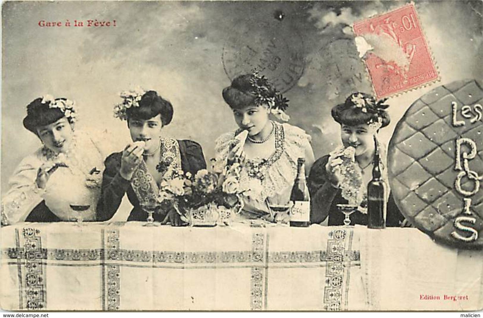 -ref-B172- Illustrateur Bergeret - Les Rois -  Epiphanie - Galette Des Rois - Feve - Feves - Femmes - Champagne Cliquot - Bergeret