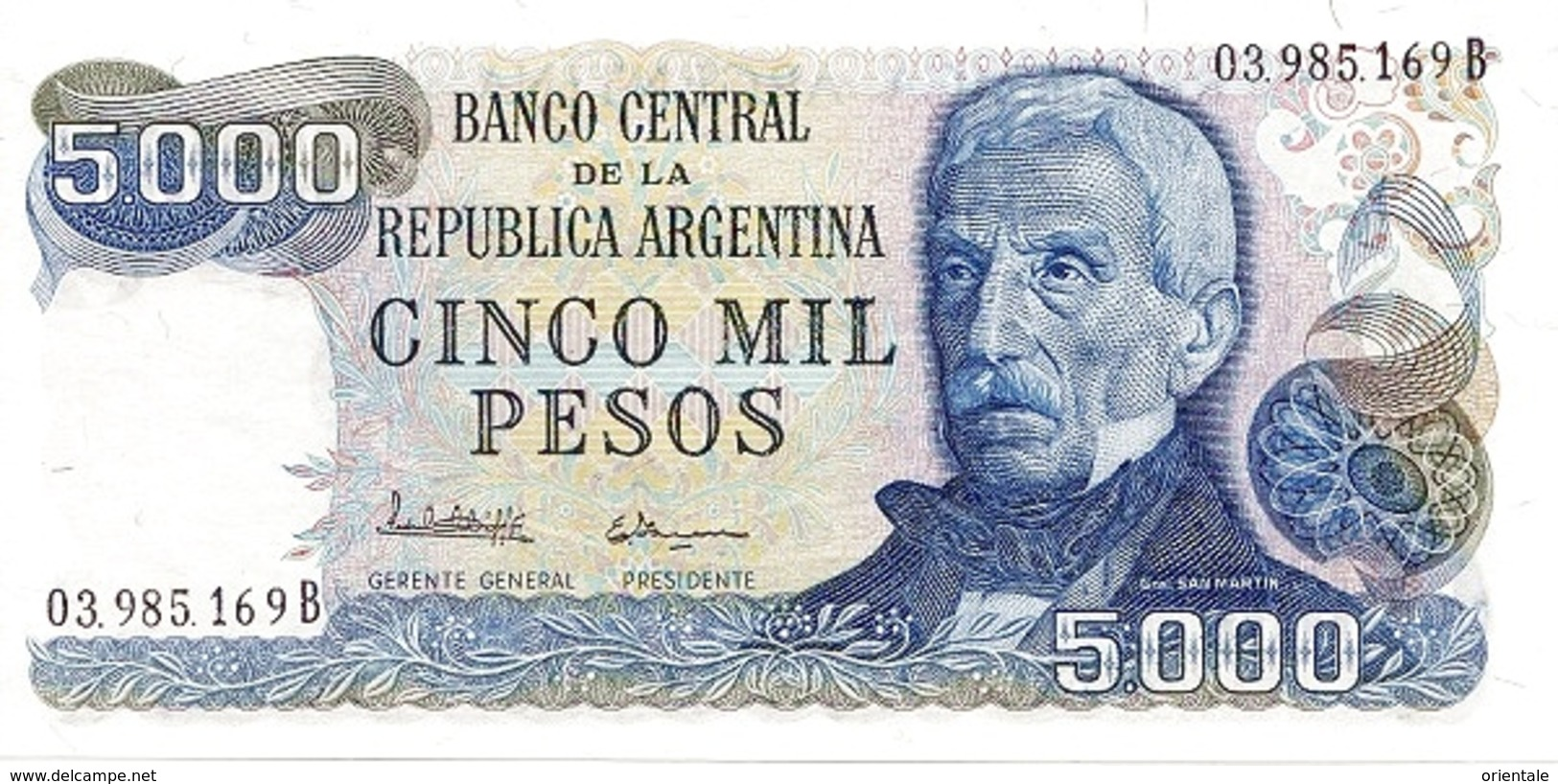 ARGENTINA P. 305b 5000 P 1977 UNC - Argentine