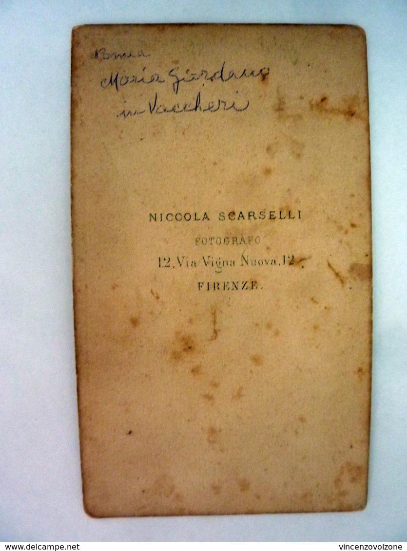 """Fotografia All'Albumina """"Ritratto Di Maria Vaccher In Giordano - Fotografo NICCOLA SCARSELLI FIRENZE"""" 1870 Circa - Persone Identificate"""