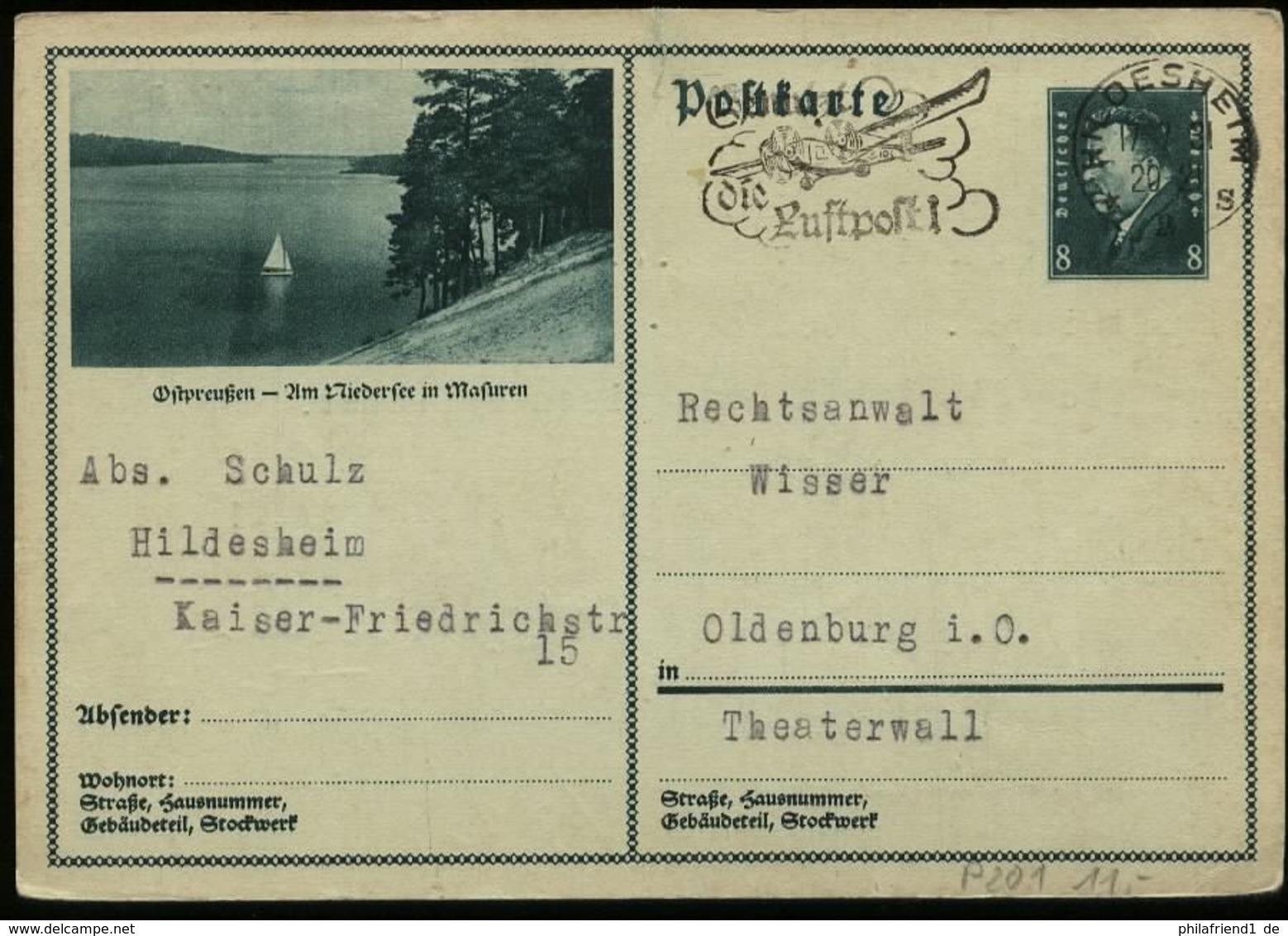 S5693 - DR GS Postkarte Mit Bild Ostpreussen Niedersee Masuren: Gebraucht Hildesheim - Oldenburg 1931 , Bedarfserhaltu - Ganzsachen