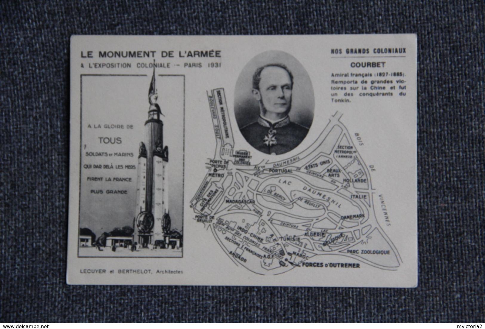 PARIS - Exposition Coloniale 1931 - Le Monument De L'Armée  : COURBET,Amiral De FRANCE - Ausstellungen