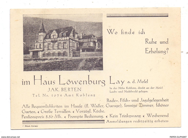 5400 KOBLENZ - LAY, Hotel Löwenburg, Werbe-Karte, Keine AK-Einteilung - Rusia