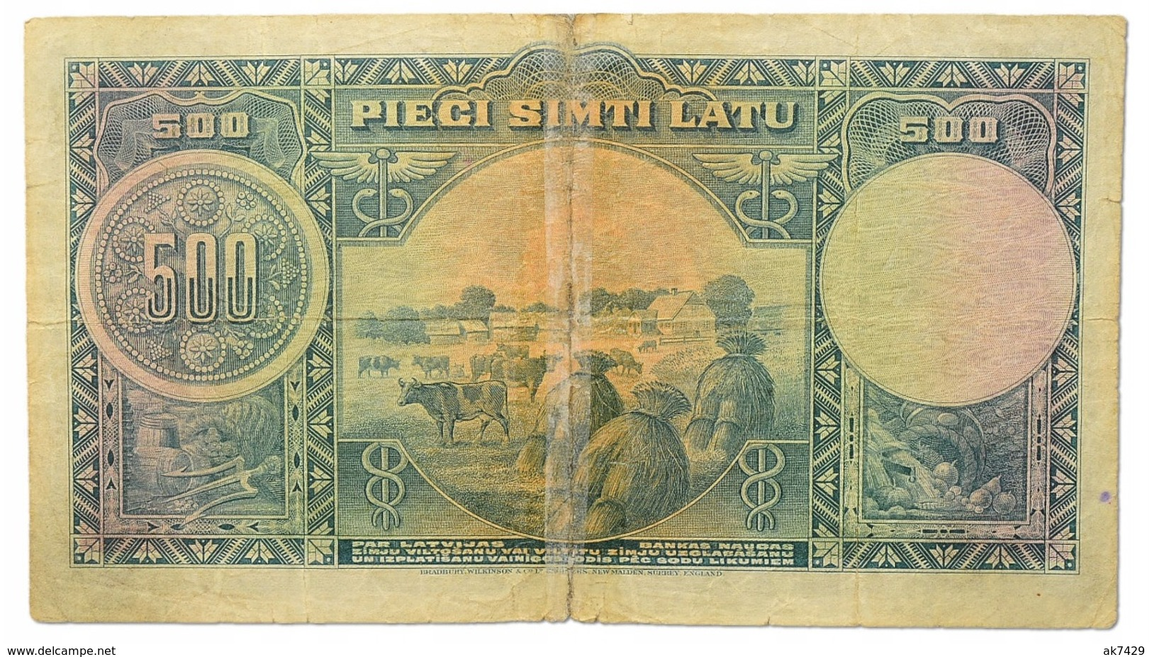 LATVIA 500 LATU 1929 PICK # 19a VG-Fine (Broken In Half And Taped With Tape) - Lettonie