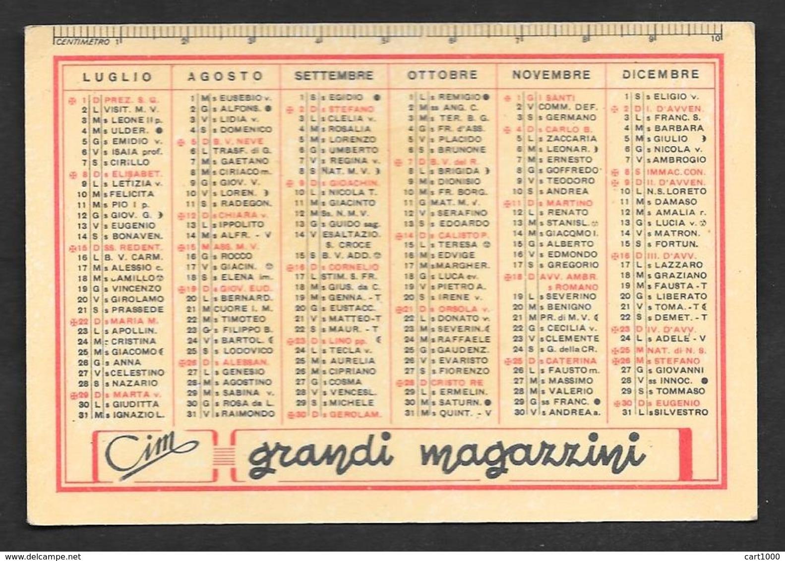 CALENDARIETTO TASCABILE 1951 CIM GRANDI MAGAZZINI - Calendriers