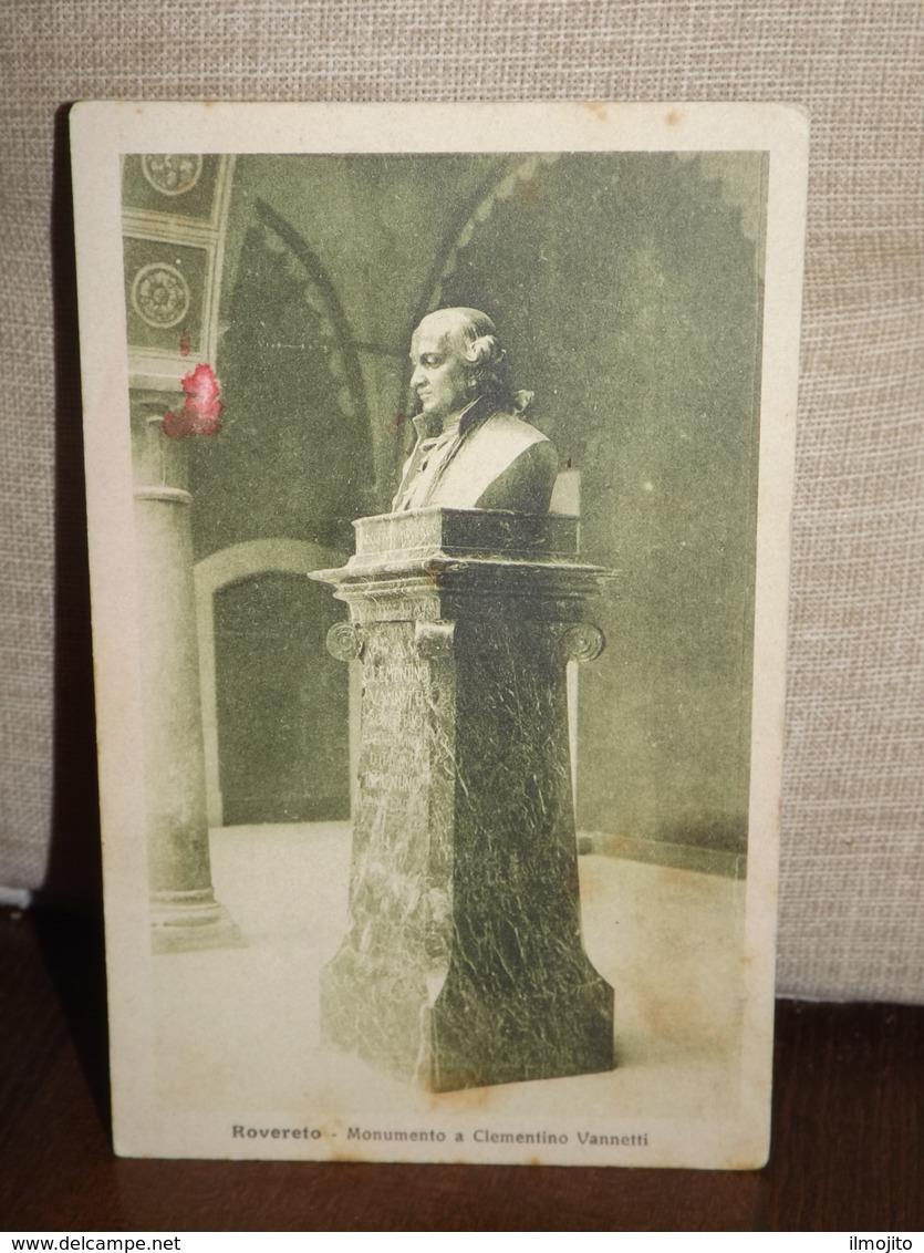 CARTOLINA ROVERETO MONUMENTO A CLEMENTINO VANNETTI FORMATO PICCOLO - Altre Città