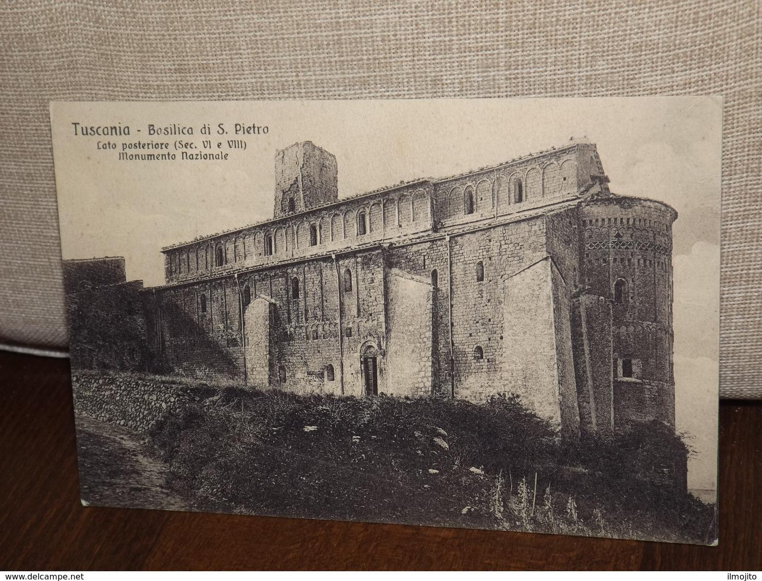 CARTOLINA TUSCANIA BASILICA DI S.PIETRO MONUMENTO NAZIONALE LATO POSTERIORE FORMATO PICCOLO - Altre Città