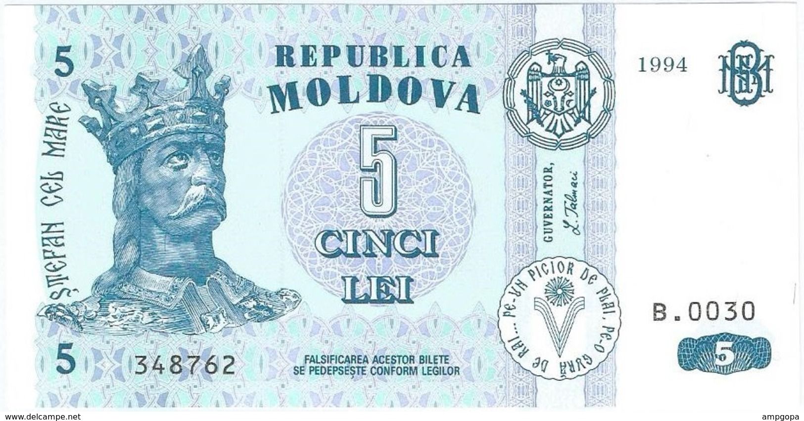 Moldavia - Moldova 5 Leu 1994 Pick 9a UNC - Moldova