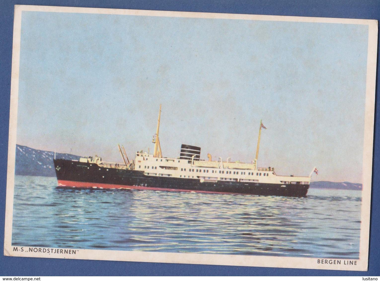 M.S. Nordstjernen Bergen Kirkenes Coastal Express Service - Ship Lines Postcard Norway Norge - Dampfer