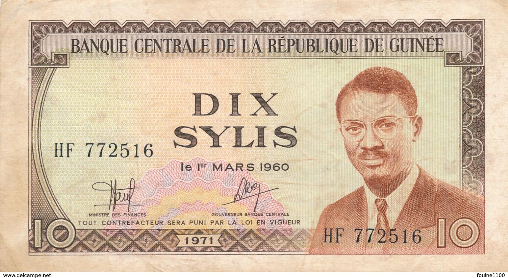 Billet De Banque  République De Guinée  10 Sylis - Guinée