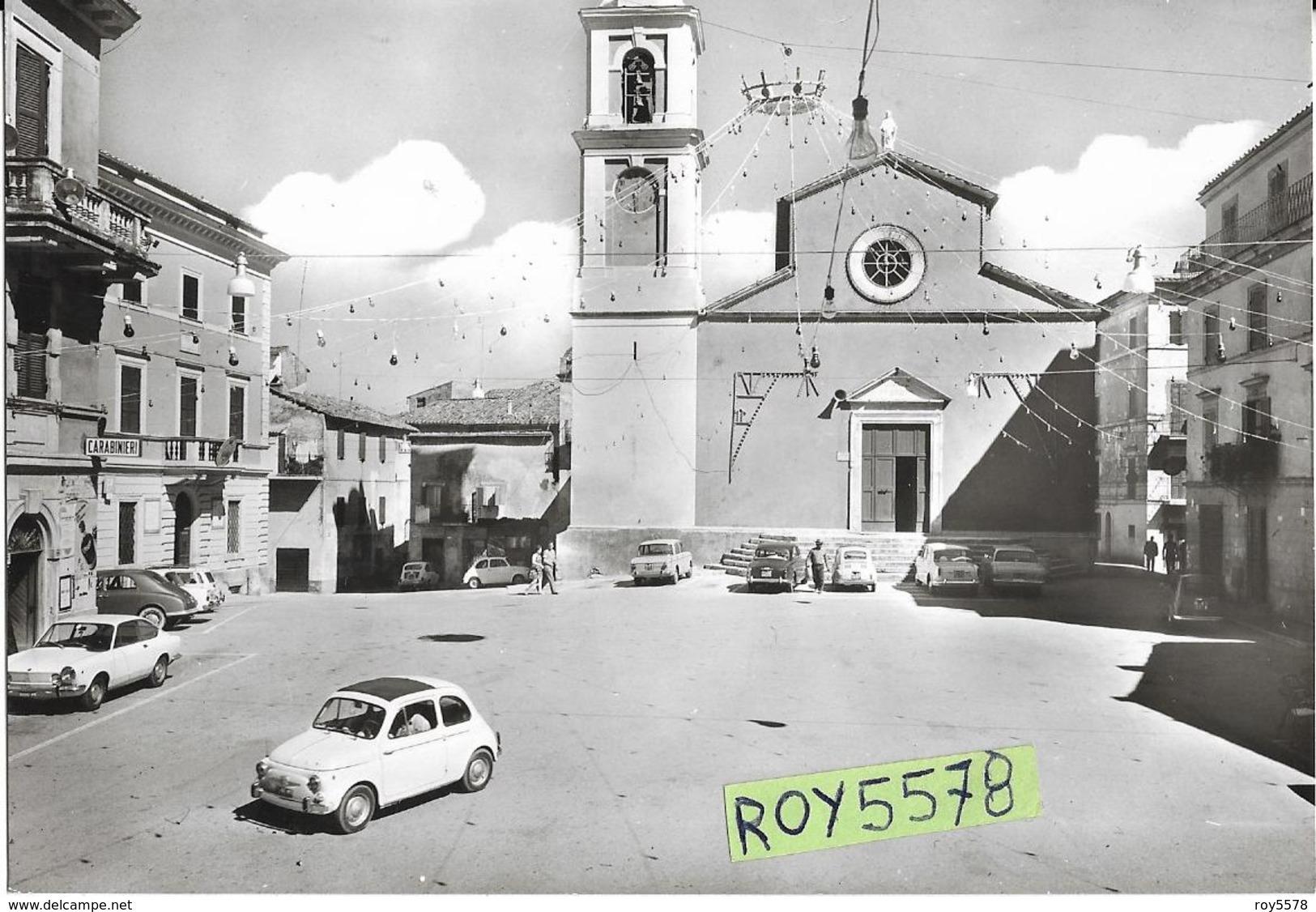 Lazio-roma-fiano Romano Piazza Vittorio Emanuele Veduta Piazza Chiesa Caserma Carabinieri Diverse Auto Epoca Case - Altre Città