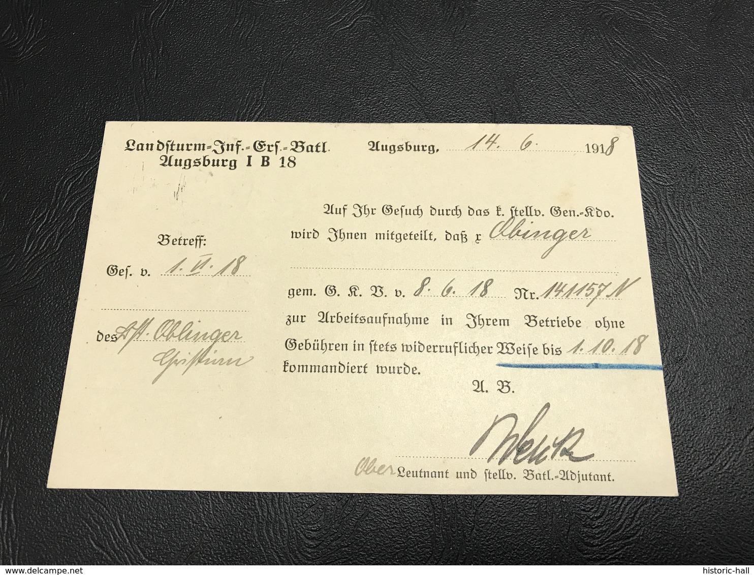 Correspondance Militaire - Juin  1918 Landsturm Infanterie Ersatz Bataillon AUGSBURG IB 18 - Marcophilie (Lettres)