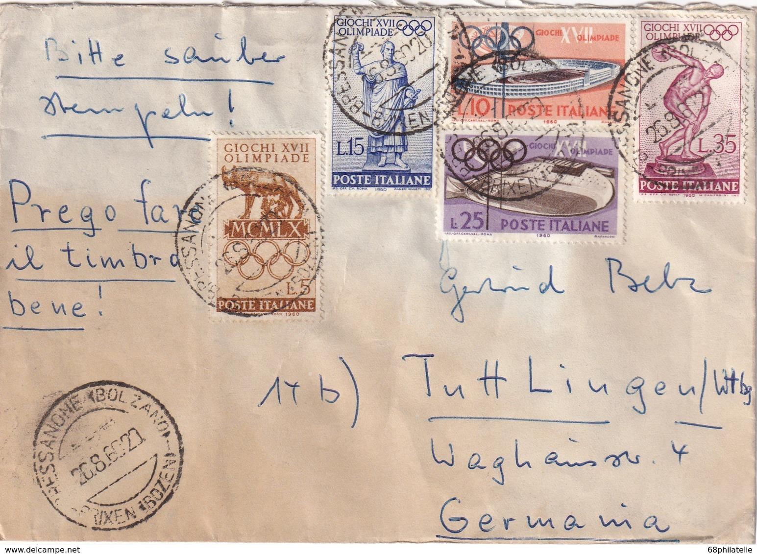 ITALIE  1960 LETTRE DE BRESSANONE  THEME JO ROME - 6. 1946-.. Repubblica