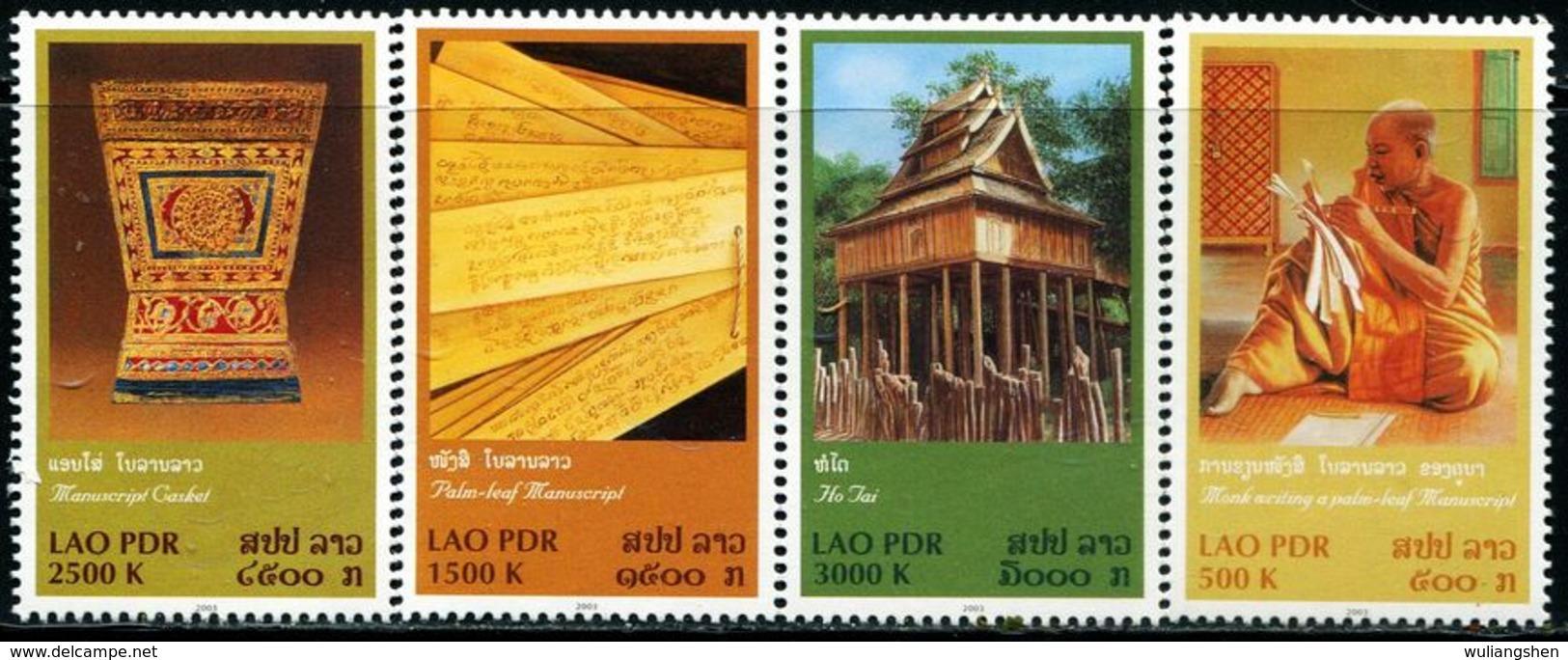 TA0123 Laos 2003 Temple Monks, Verses, Etc. 4V MNH - Laos