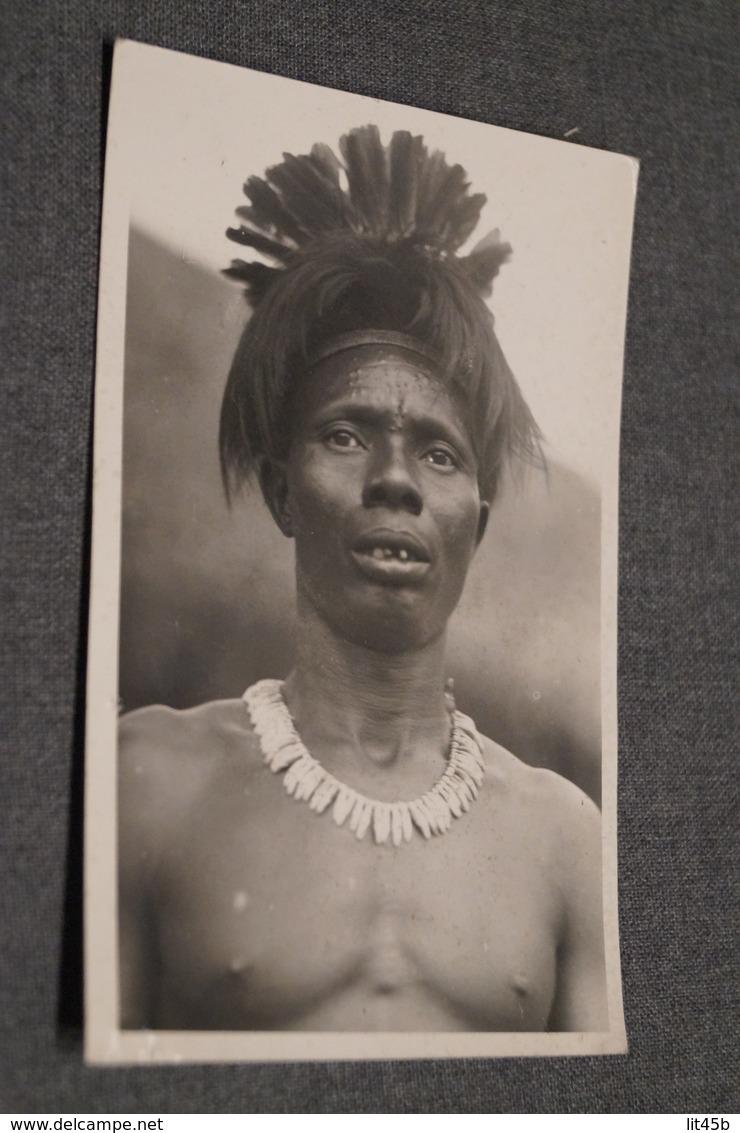Africain Avec Coiffure Et Collier,1954,original,Congo Belge Matadi,originale Carte Photo - Afrique