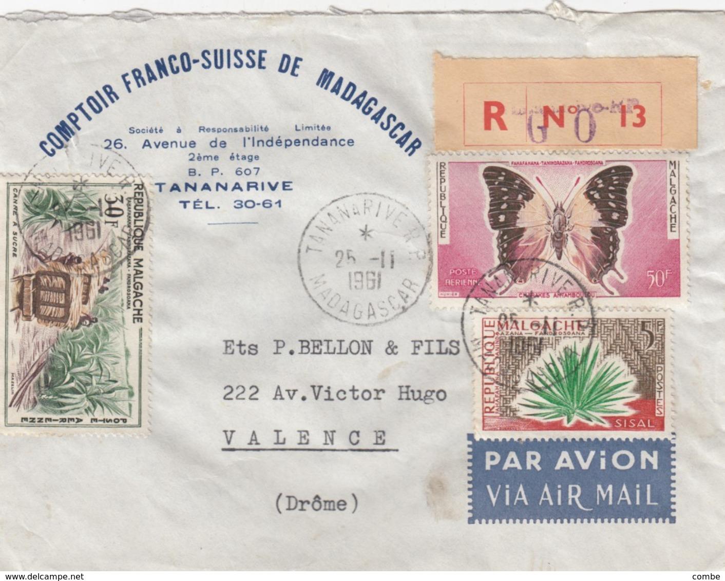LETTRE. COVER.  1961. RECOMMANDÉ COMPTOIR FRANCO-SUISSE DE MADAGASCAR TANANARIVE  TO FRANCE - Ohne Zuordnung