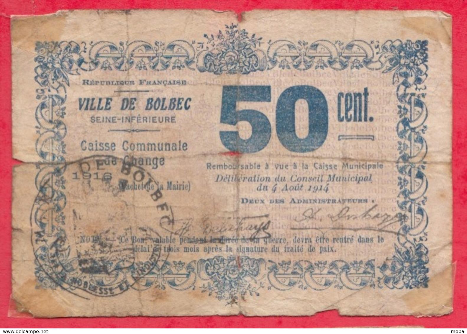 50 Centimes    Ville De Bolbec   Dans L 'état N °26 - Bons & Nécessité