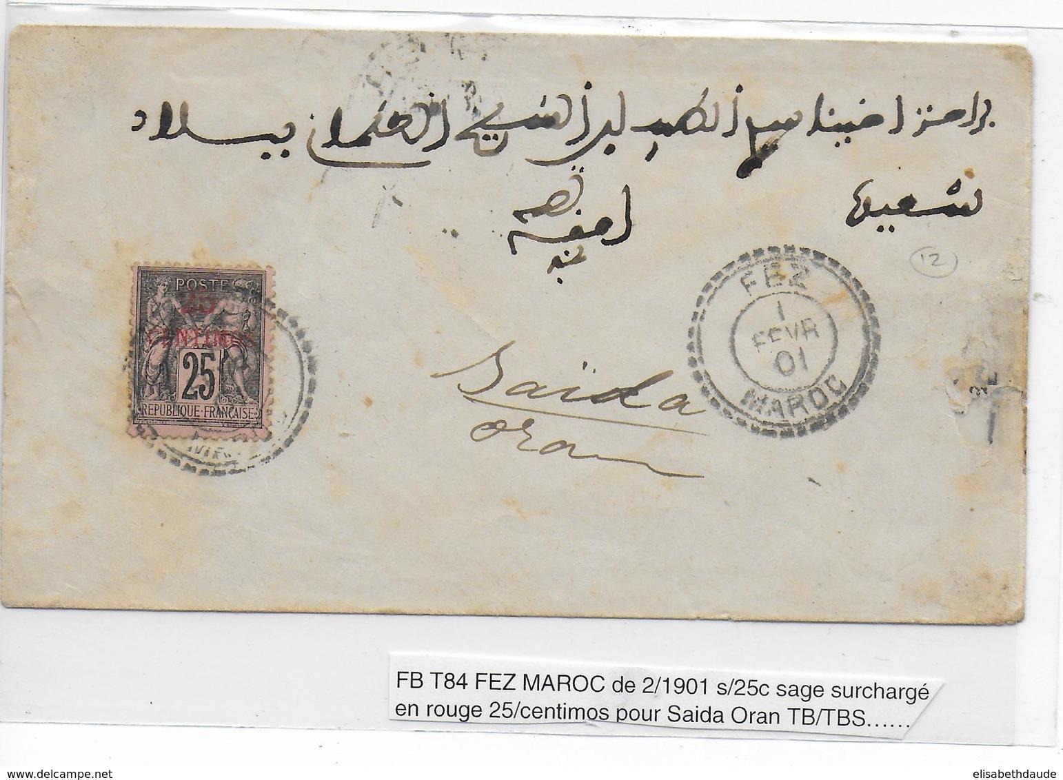 1901 - MAROC - SAGE Sur ENVELOPPE De FEZ => SAÏDA ORAN - Morocco (1891-1956)