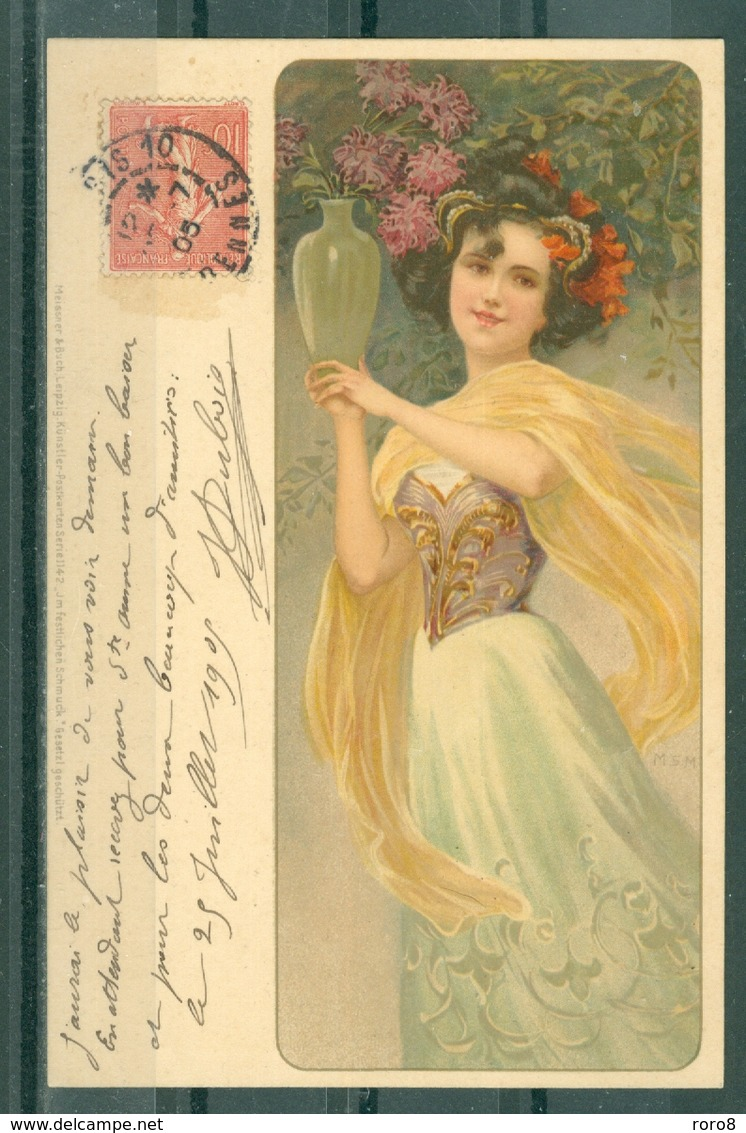 ILLUSTRATEUR - Jeune Femme Tenantun Vase De Fleurs, Style Art Nouveau. Editeur Messner & Buch N° 114 - Ilustradores & Fotógrafos