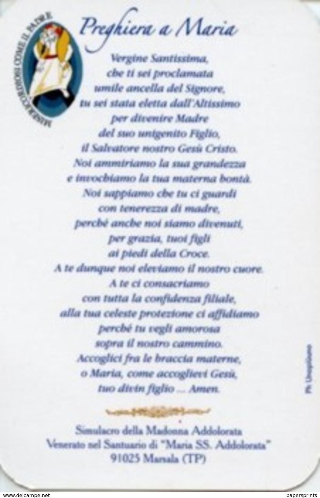 Marsala - Santino MADONNA ADDOLORATA - PERFETTO N28 - Religione & Esoterismo