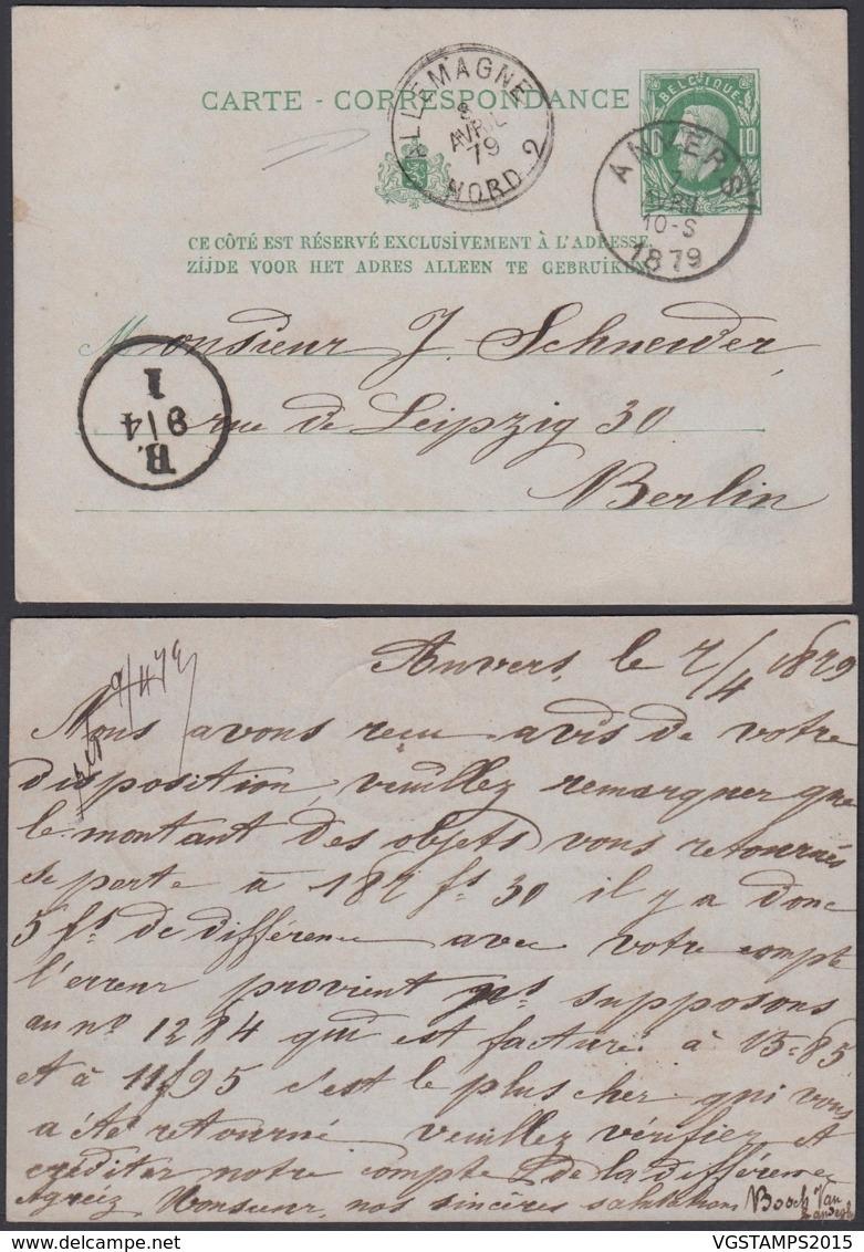BELGIQUE EP 10c VERT De ANVERS VERS BERLIN AMBULANT ALLEMAGNE NORD 2 DU 02/04/1879 (DD) DC-1302 - Stamped Stationery
