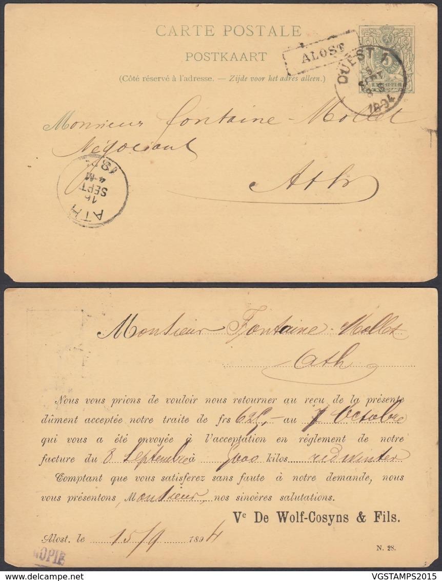 BELGIQUE EP 5c VERT AMBULANT OUEST 1 Du 15/09/1894 + ALOST Encadre (DD) DC-1311 - Stamped Stationery