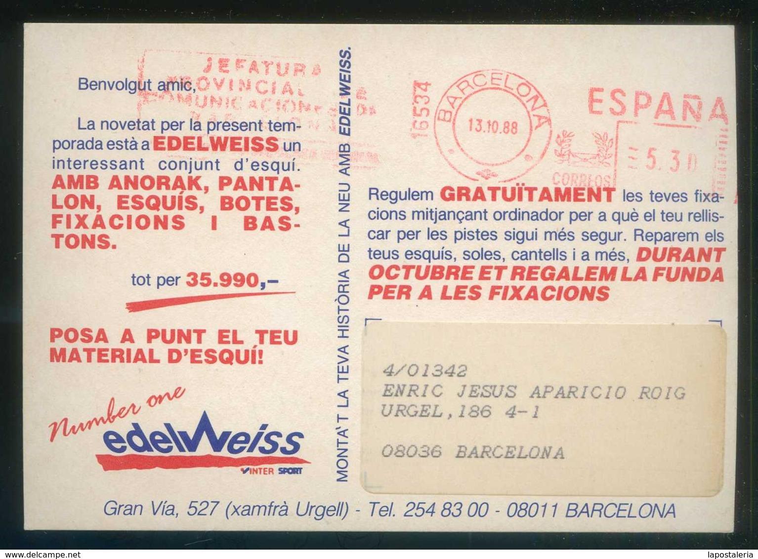 *Sergio Alejandro - Edelweiss* Barcelona. Circulada 1988. - Ilustradores & Fotógrafos