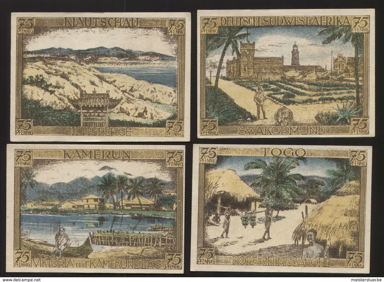 Notgeld - Deutsch-Hanseatischer Kolonialgedenktag 1922 - Serie Von 4 Gutscheinen Mit Unterschiedlichen Motiven - Lokale Ausgaben