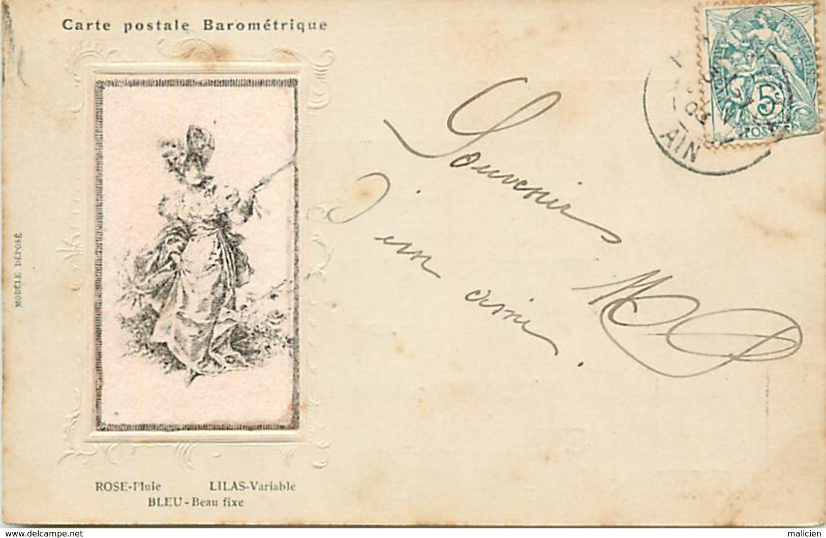 -ref-B150- Systemes - Systeme -carte Postale Barometrique - Barometre - Meteorologie - Femme - Illustrateur - A Systèmes
