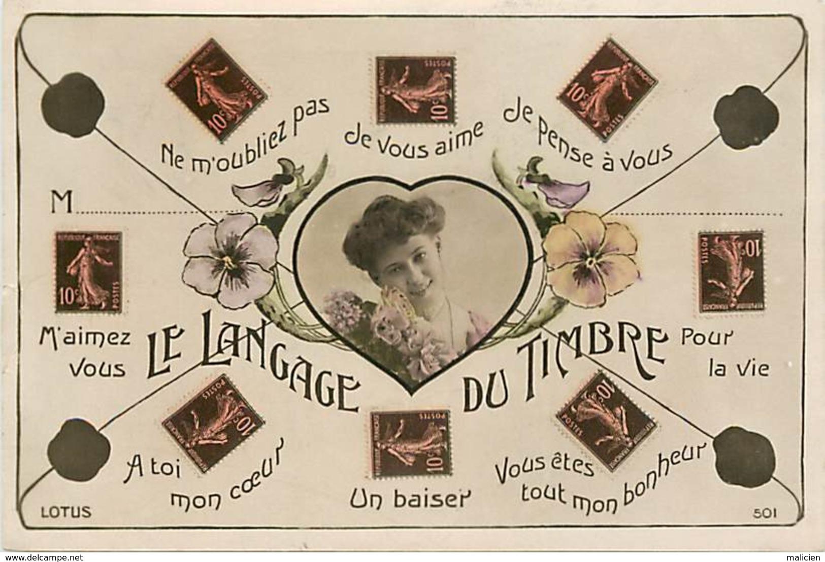 -ref-B148bis- Timbres - Langage Du Timbre - Langages - Philathelie - Carte Bon Etat - - Timbres (représentations)