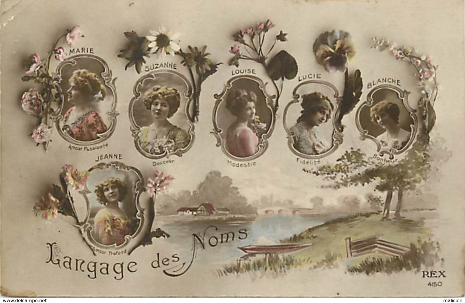 - Ref-B145 -  Langages - Langage Des Noms - Prenoms : Blanche - Lucie - Suzanne - Louise - Jeanne - Marie - - Cartes Postales