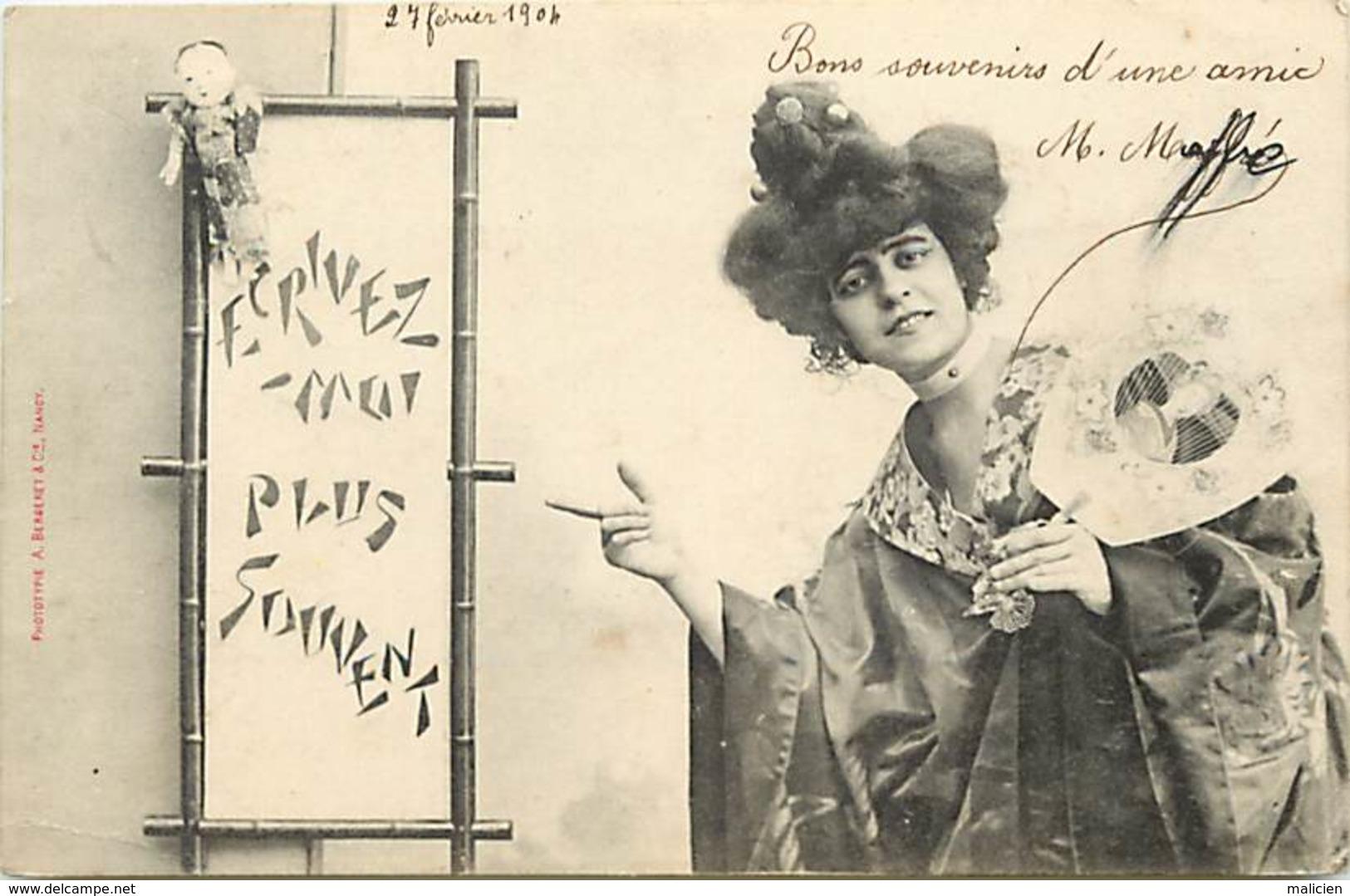 -ref-B135- Illustrateurs - Illustrateurs Bergeret - Femme - Femmes - Ecris Moi ... - Eventail - Japonaiserie - Japon - - Bergeret