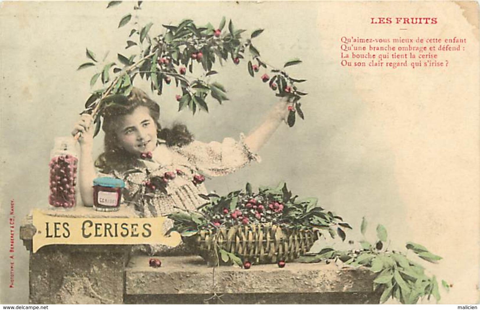 -ref-B132- Illustrateurs - Illustrateurs Bergeret - Les Fruits - Les Cerises - Enfant - Enfants - Carte Bon Etat - - Bergeret