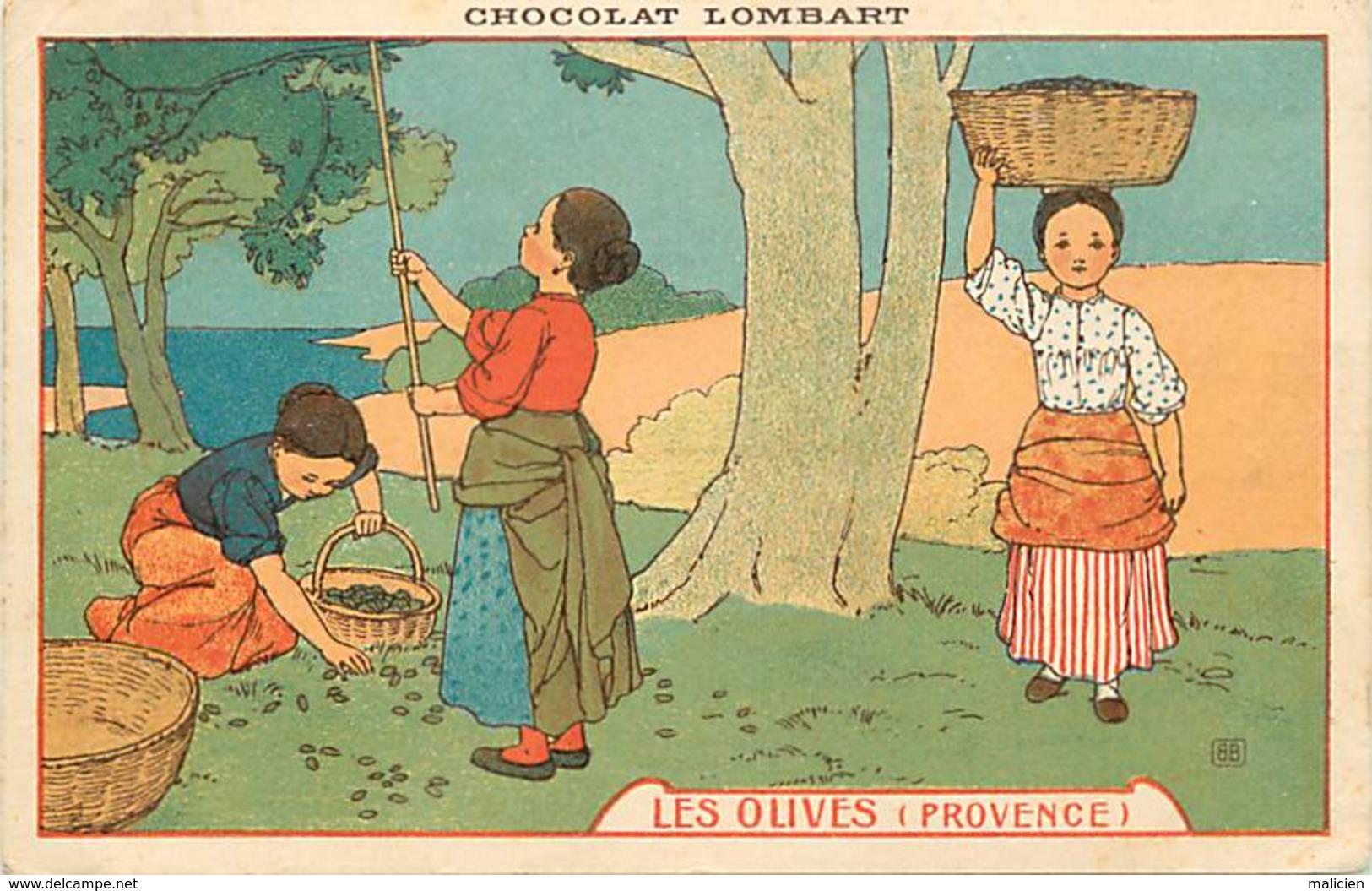 -ref-B126- Publicite Chocolat Lombart - Paris - Recolte Des Olives En Provence - Illustrateur - Illustrateurs - - Publicité