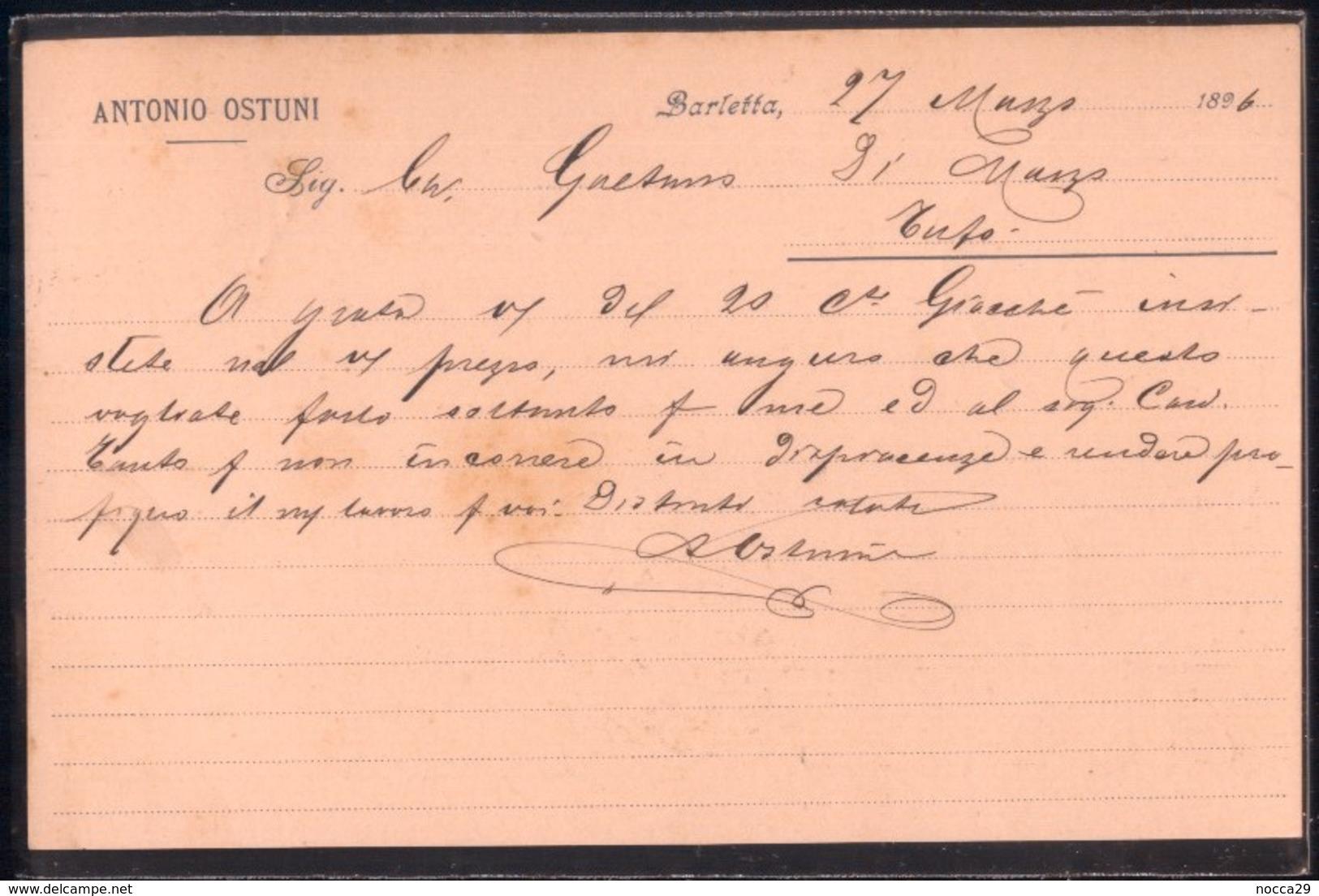BARLETTA - 1896 - CARTOLINA COMMERCIALE - ANTONIO OSTUNI - Negozi