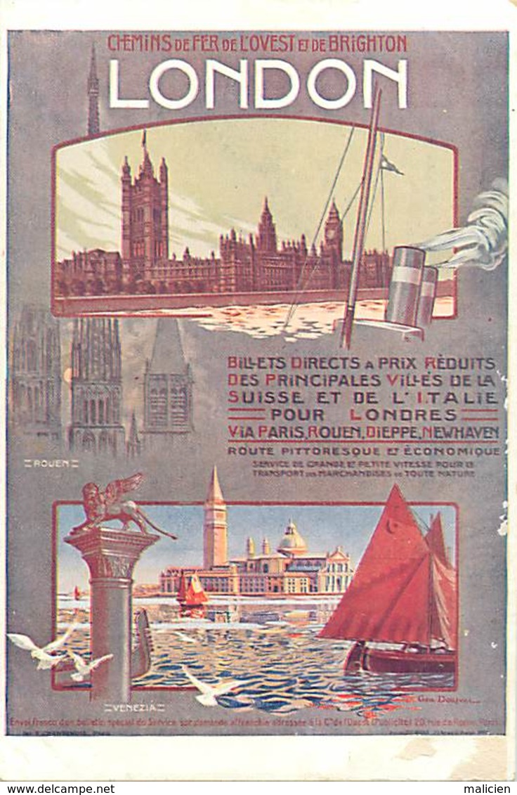 -ref-B121- Royaume Uni - Affiche Chemins De Fer De L Ouest Et De Brighton - London - Rouen - Venezia - Railway - - London