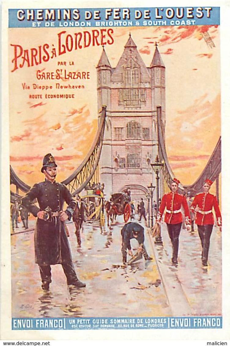 -ref-B119- Royaume Uni - Affiche Chemins De Fer De L Ouest Et De Brighton - London - Brighton & South Coast Railway - - Tower Of London