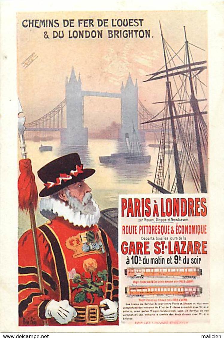 -ref-B117- Royaume Uni - Affiche Chemins De Fer De L Ouest Et De Brighton - London - Brighton & South Coast Railway - - River Thames