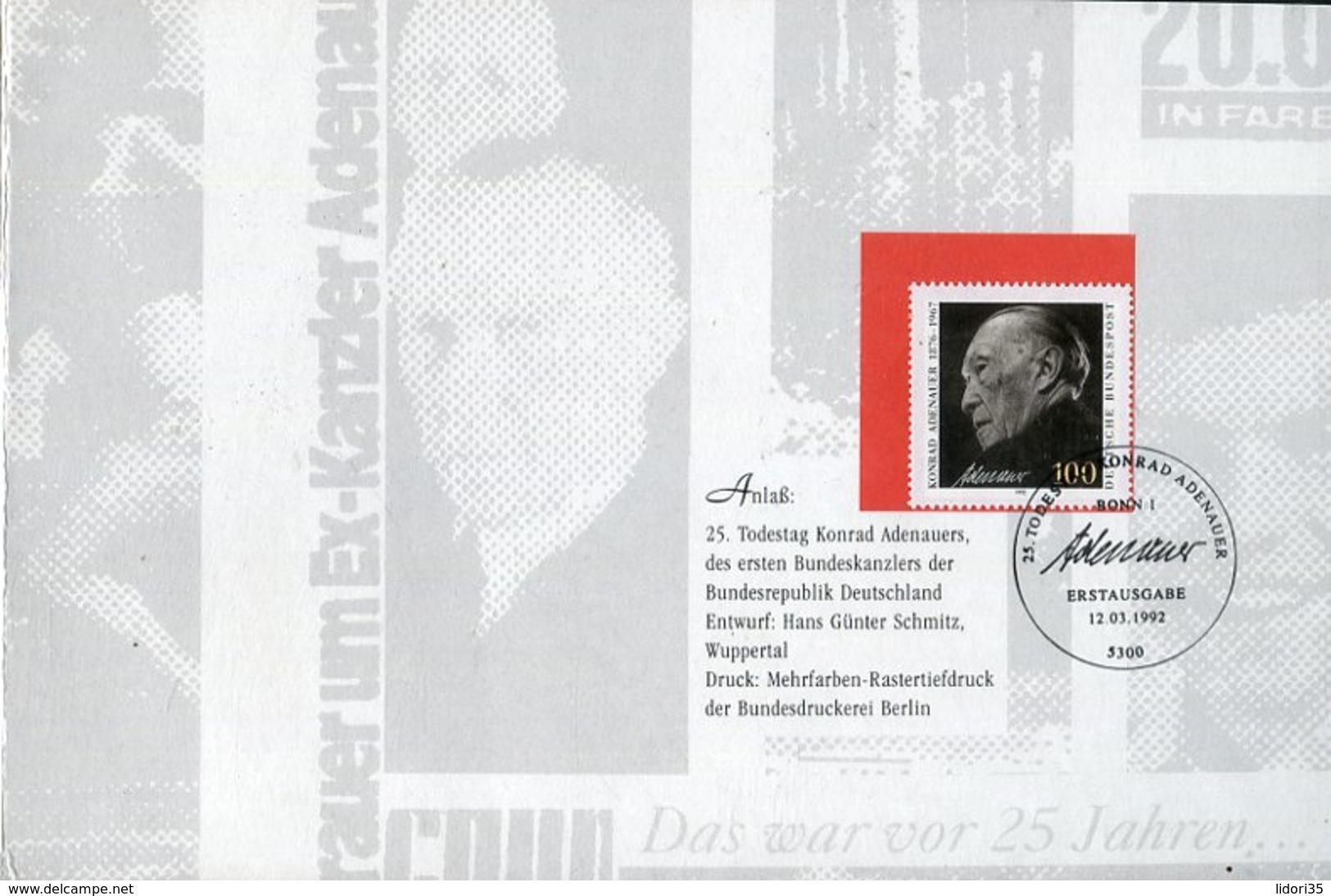 """Bundesrepublik Deutschland / 1992 / Folder """"25. Todestag Konrad Adenauer"""" (4/505-20) - Briefe U. Dokumente"""