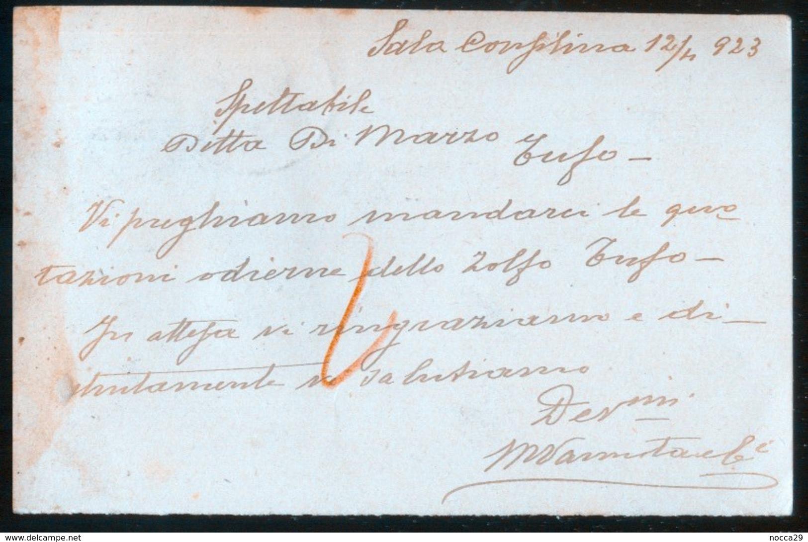 SALA CONSILINA - SALERNO - 1923 -  CARTOLINA  COMMERCIALE -  DITTA VANNATA - Negozi
