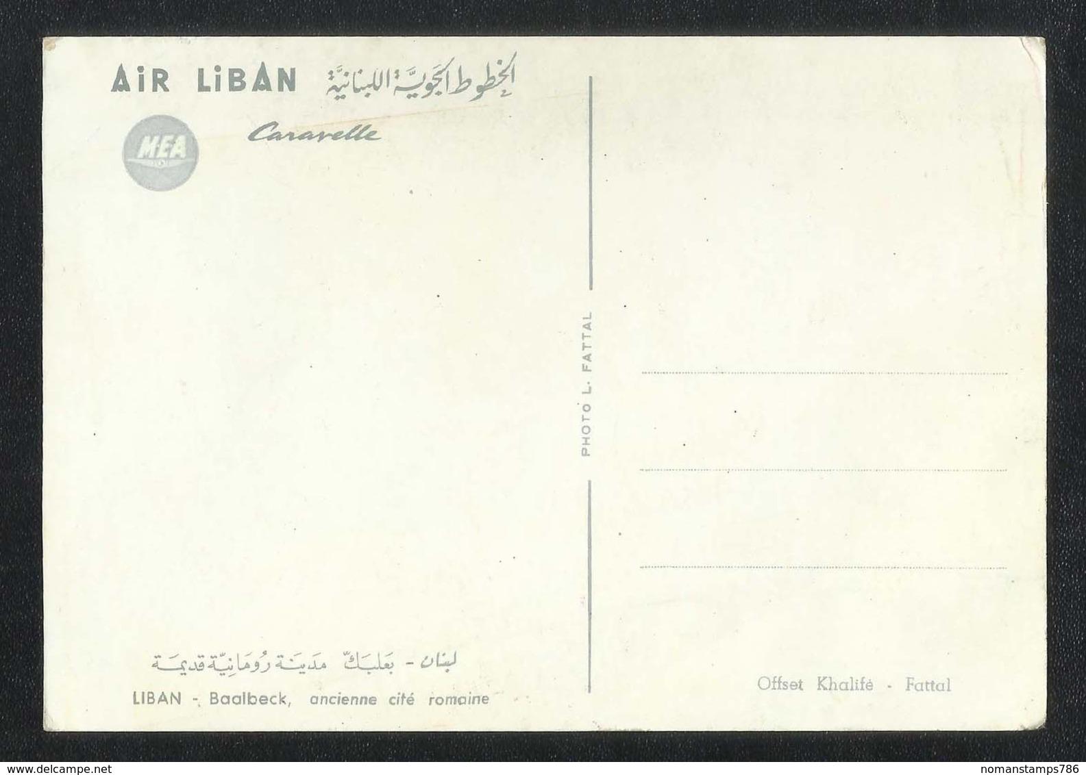 Lebanon Liban Airline M.E.A Air Picture Baalbeck View Card - Lebanon
