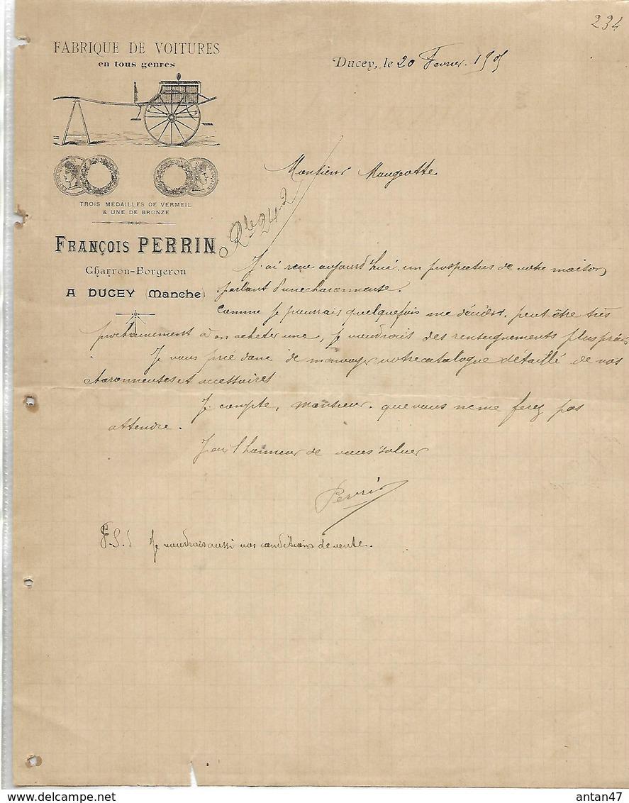 Facture 1905 / 50 DUCEY / F. PERRIN / Fabrique De Voitures / Charron, Forgeron - France
