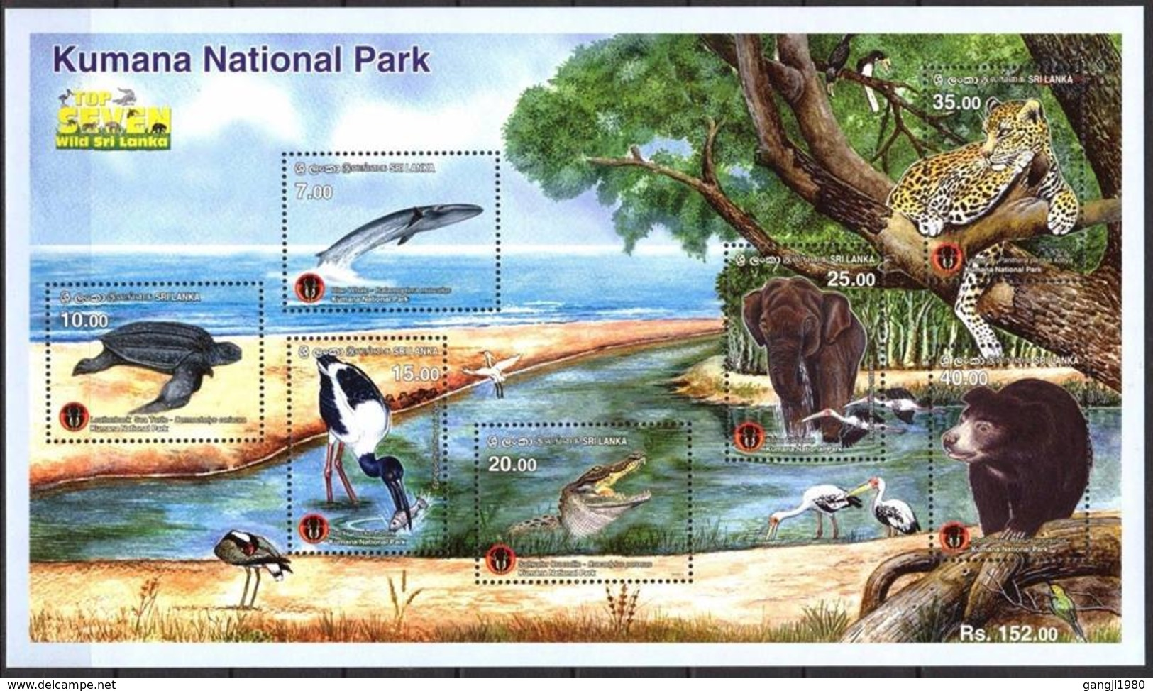 Sri Lanka 2016  Kumana National Park Leopard, Turtles, Birds, Stork Whales, Elephant Miniature Sheet. - Francobolli