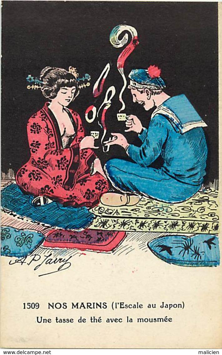 -ref-B86- Militaria - Humoristiques - Marin - Geisha - The - Japon - Prostitution - Illustrateur Jarry - Illustrateurs - - Humoristiques