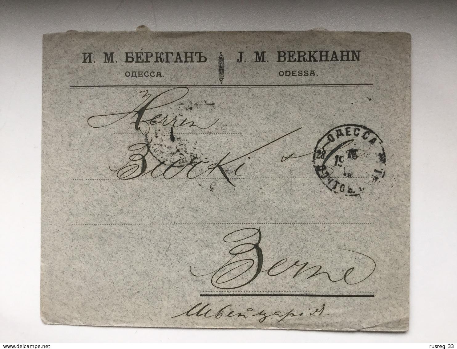 K6 Russia Russie 1904 Brief Von Odessa Nach Bern - Briefe U. Dokumente