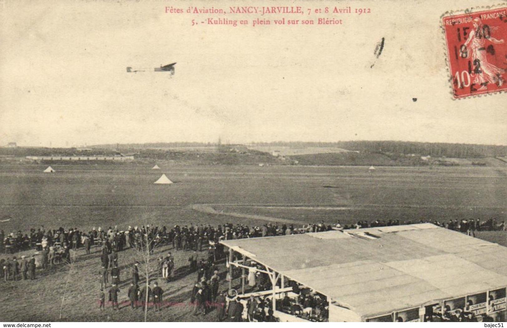 1 Cpa Nancy - Fête D'aviation, 7 Et 8 Août 1912 - Kuhling En Plein Vol Sur Son Blériot - Nancy