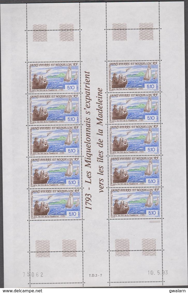 SAINT PIERRE ET MIQUELON 1 Feuille 10 T N°YT 579 Date 10.5.93 - Iles De La Madeleine - St.Pierre Et Miquelon