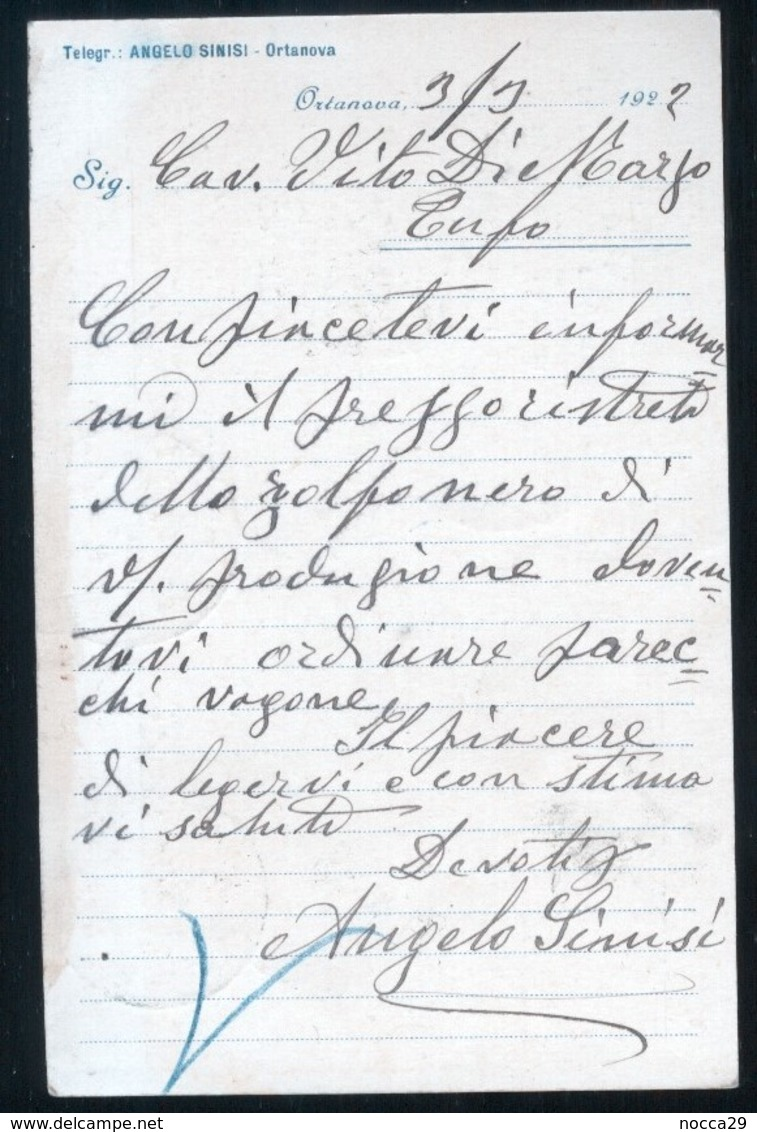 "ORTA NOVA - FOGGIA - 1922 - CARTOLINA COMMERCIALE   DITTA ""SINISI ANGELO"" - Negozi"